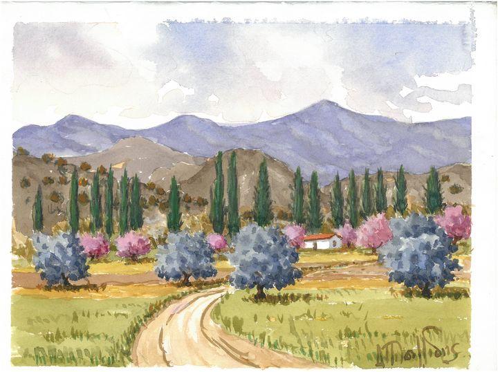 W1030 - Landscape in Cyprus - Art in Cyprus by Doloros Pitsillides