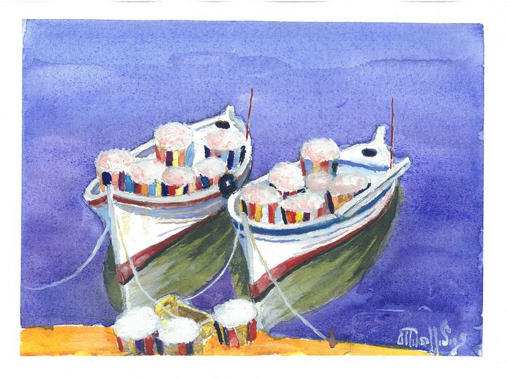 W1003 - Fishing Boats - Art in Cyprus by Doloros Pitsillides