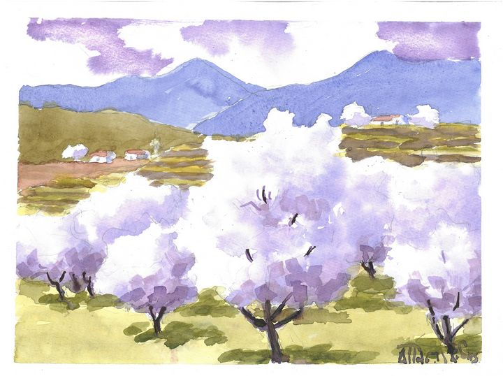 W1034 - Blooming Almond Trees - Art in Cyprus by Doloros Pitsillides
