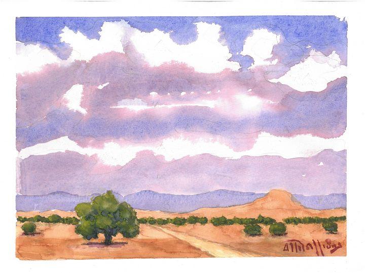 W1035 - Landscape in Cyprus - Art in Cyprus by Doloros Pitsillides