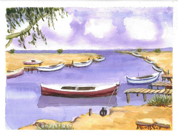 W1048 - Fishing Boat Harbor - Cyprus - Art in Cyprus by Doloros Pitsillides