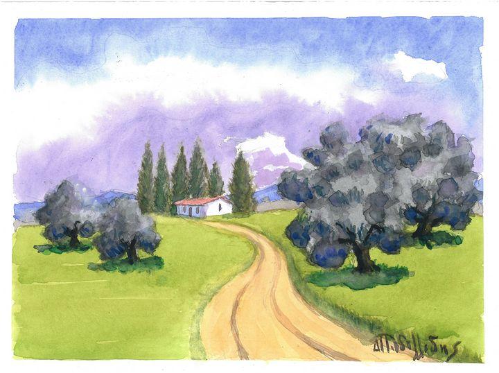 W1004 - Landscape in Cyprus - Art in Cyprus by Doloros Pitsillides