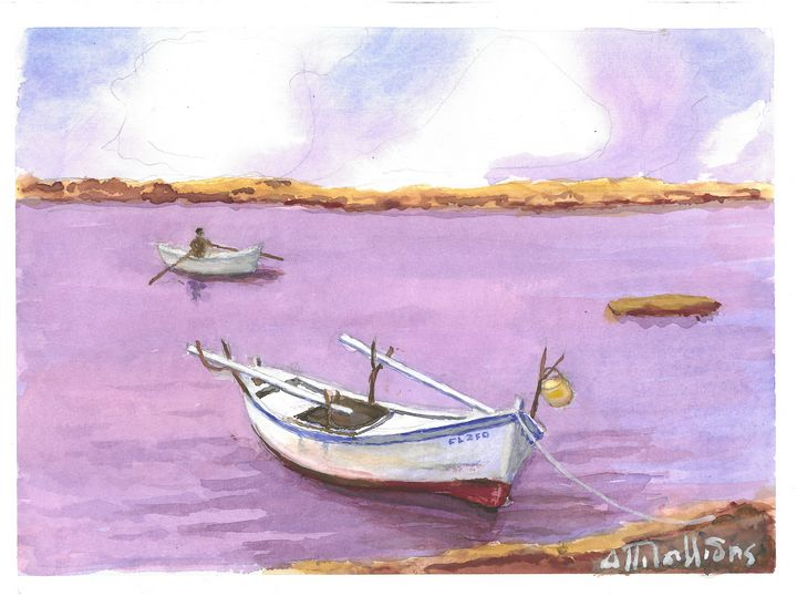 W1005 - Fishing Boats - Art in Cyprus by Doloros Pitsillides