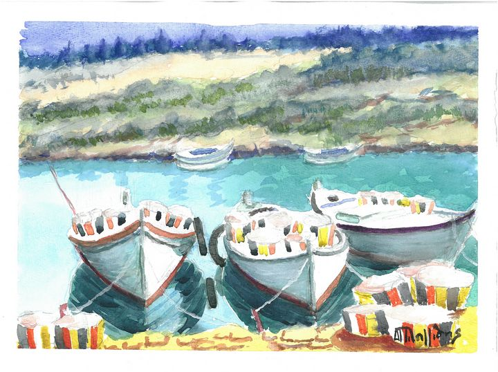 W1006 - Fishing Boats - Art in Cyprus by Doloros Pitsillides