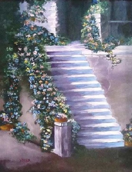 Steps to Back Door - Paintings By Nana