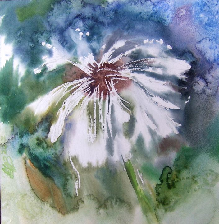 Dandelion in the rain. 23.5X23.5cm - Alla Cherniavska