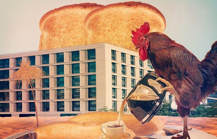 Chicken drink coffee - myArt surrealcollagen