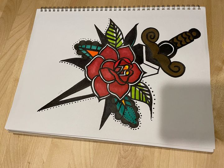 Old School Rose With Knife - SinYu Chang McLeod