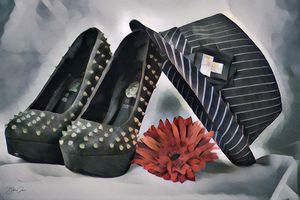 Studded Shoes and Fedora Hat - Debbie Gwinn