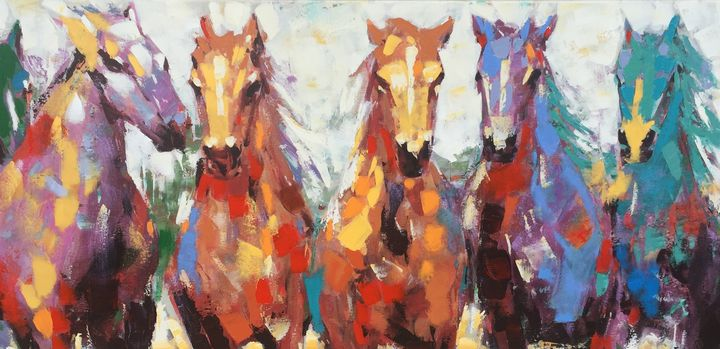 Multicolored Horses - Dan Gouge