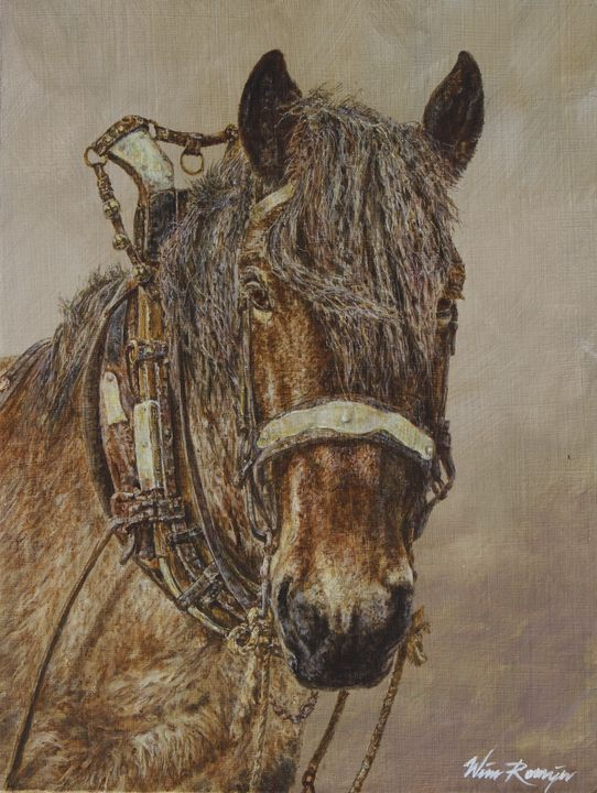 Sara, one of the last farm horse - Wim Romijn Art