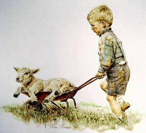 Farm boy with sheep lamb