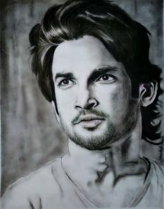 Portrait charcoal drawing of Sushant