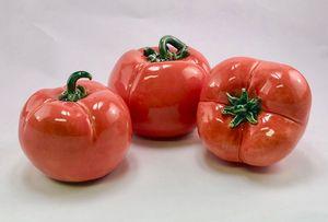 Three Ceramic Tomatoes $145