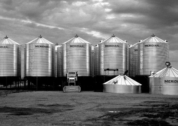 Grain Bins At Dusk - Deb Johnston
