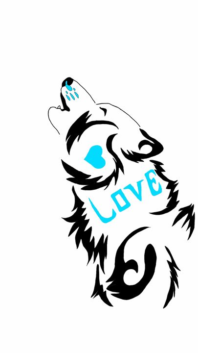 Howling Love Wolf Tattoo Design Blue - WingedTrucker