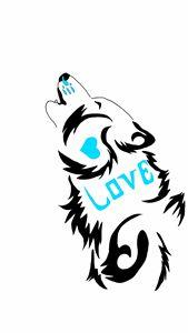 Howling Love Wolf Tattoo Design Blue