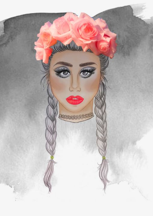pretty girl with the flower crown - sarah'slildrawing