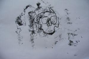 Skull and chalice monoprint