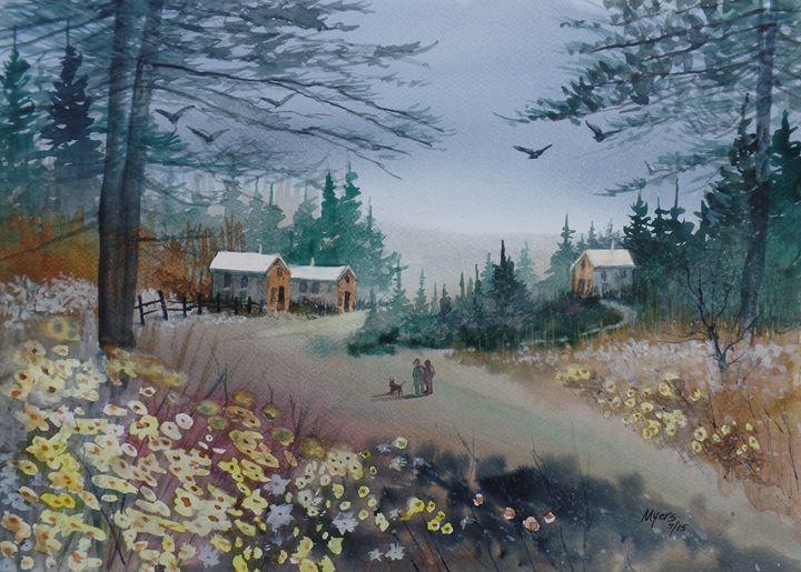 Dog Walking, Watercolor Painting - David K. Myers Watercolor/ Photo Gallery