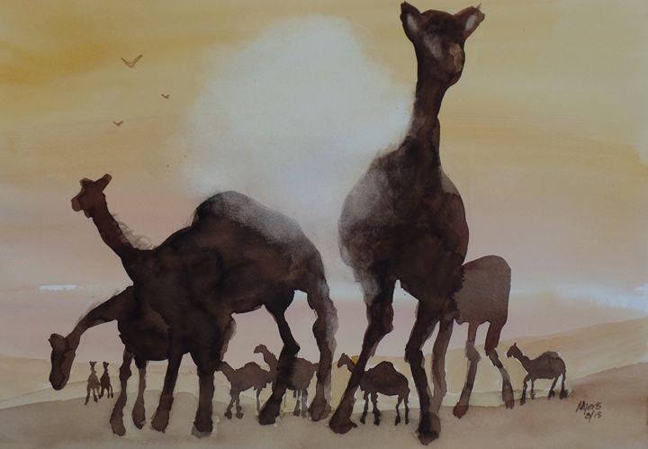 Camel Sunset, Original Watercolor - David K. Myers Watercolor/ Photo Gallery