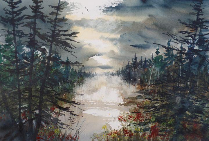 Pine River, Original Watercolor - David K. Myers Watercolor/ Photo Gallery