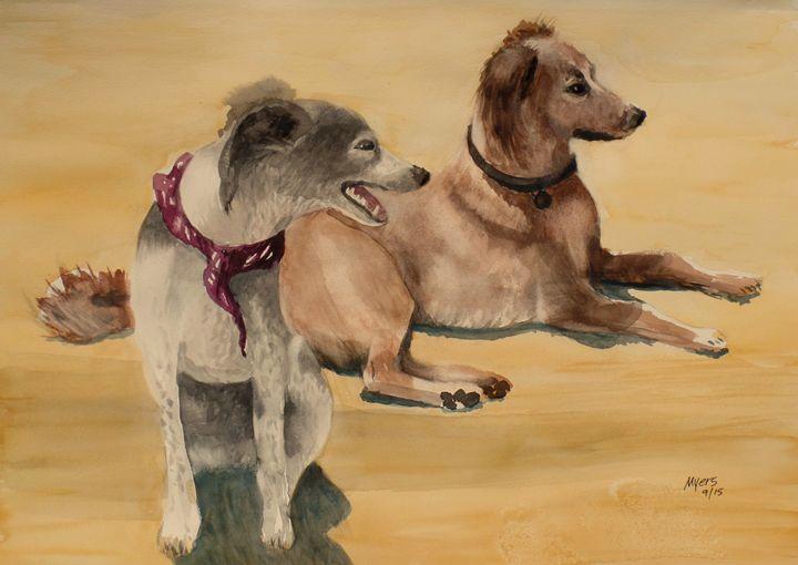 Desert Dogs, Original Watercolor - David K. Myers Watercolor/ Photo Gallery