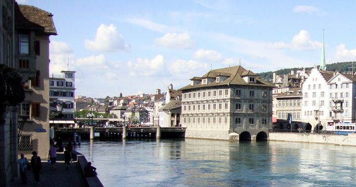 Limmat River, Zurich, Switzerland - David K. Myers Watercolor/ Photo Gallery