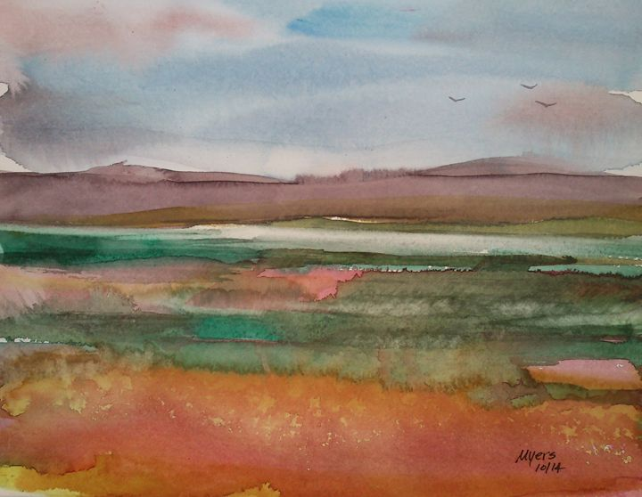 The wetland with hills - David K. Myers Watercolor/ Photo Gallery