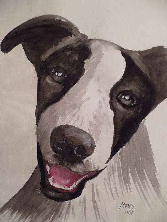Shelter Dog 3, Original Watercolor - David K. Myers Watercolor/ Photo Gallery