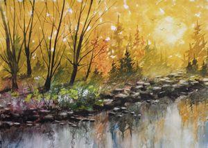 Golden River View, Watercolor Painti