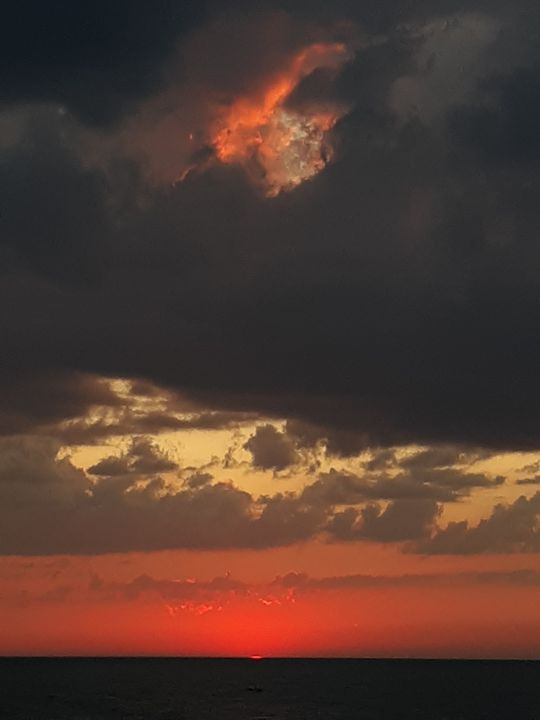 Lake Michigan sun set - David K. Myers Watercolor/ Photo Gallery