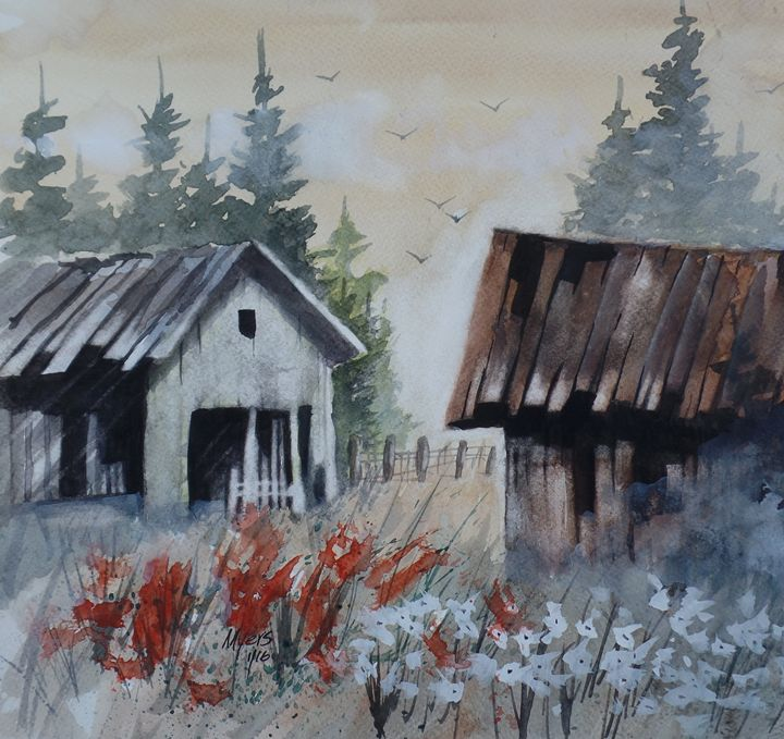 Old Barns, Watercolor Painting - David K. Myers Watercolor/ Photo Gallery