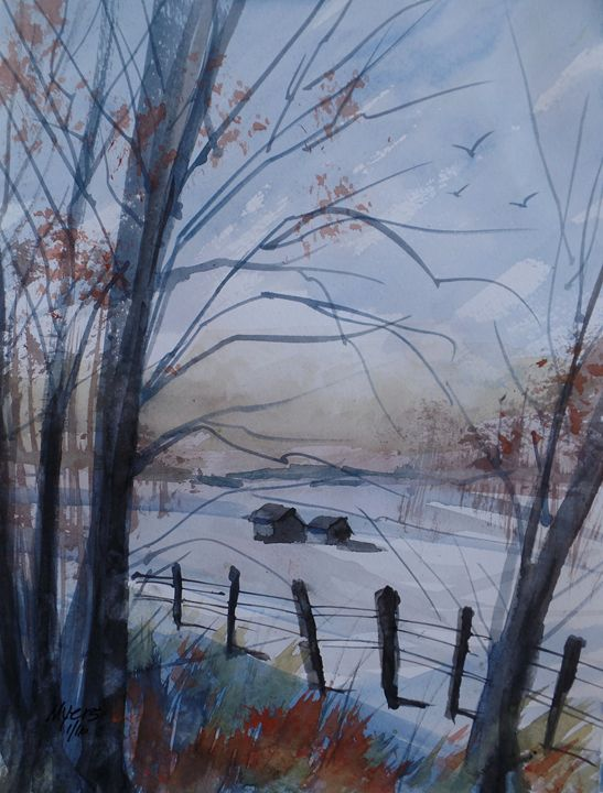 Michigan Winter, Watercolor Painting - David K. Myers Watercolor/ Photo Gallery