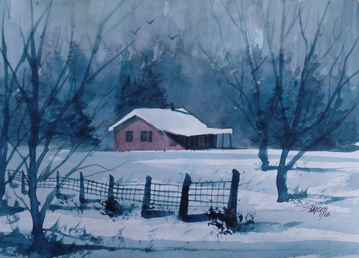 Winter Cabin, Watercolor Painting - David K. Myers Watercolor/ Photo Gallery