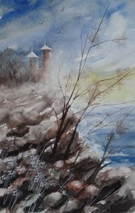 Cliff Towers, Watercolor Painting - David K. Myers Watercolor/ Photo Gallery