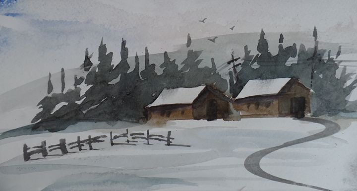 Snow Barns, Watercolor Painting - David K. Myers Watercolor/ Photo Gallery