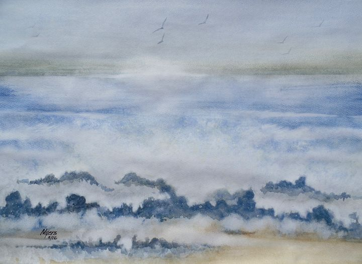 Lake Michigan Waves, Watercolor - David K. Myers Watercolor/ Photo Gallery
