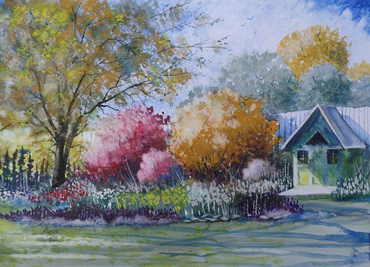 Yellow Playhouse, Watercolor Paintin - David K. Myers Watercolor/ Photo Gallery