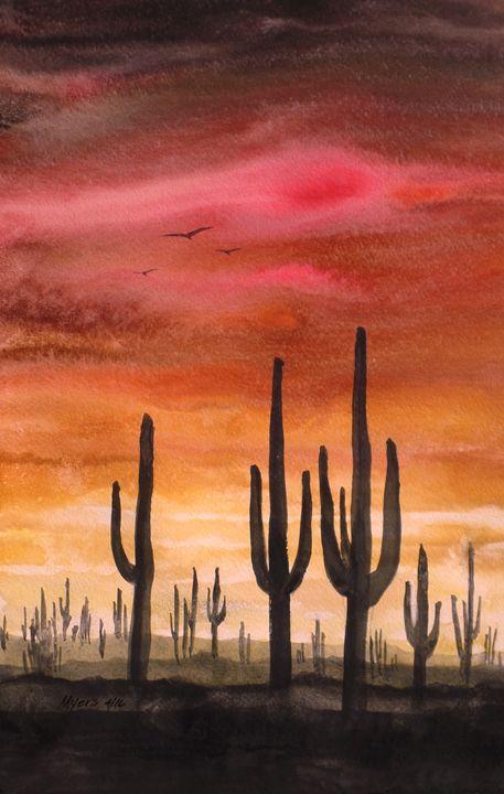 Saguaro, Gouache Painting - David K. Myers Watercolor/ Photo Gallery