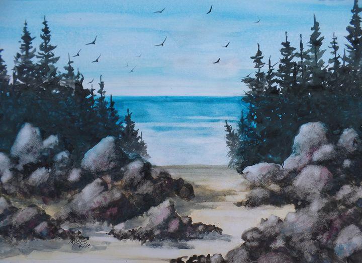 Beach Rocks, Gouache Painting - David K. Myers Watercolor/ Photo Gallery