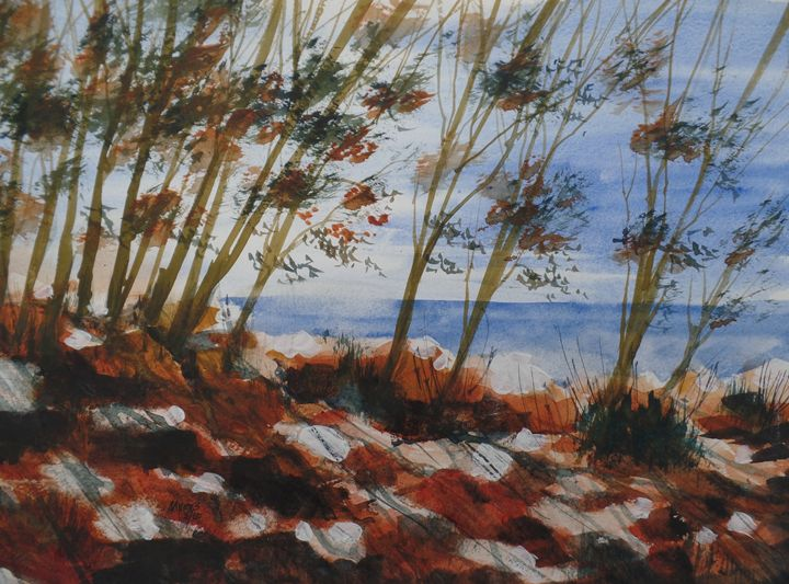 On The Rocks Watercolor Painting David K Myers
