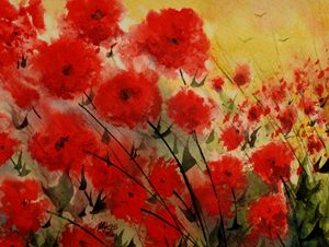 Crimson Flower, Watercolor Gouache - David K. Myers Watercolor/ Photo Gallery