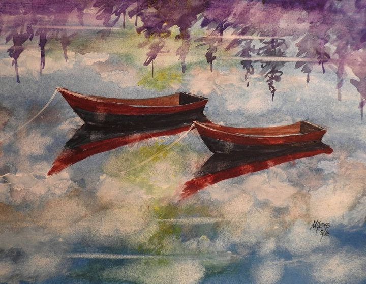 Boat Reflections Watercolor Painting - David K. Myers Watercolor/ Photo Gallery