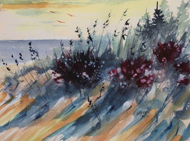 Ludington Beach Walk, Watercolor Pai - David K. Myers Watercolor/ Photo Gallery
