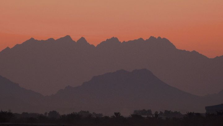 Oman Mountain Sunrise 2 - David K. Myers Watercolor/ Photo Gallery