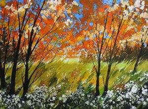Popcorn Trees, Gouache Painting - David K. Myers Watercolor/ Photo Gallery