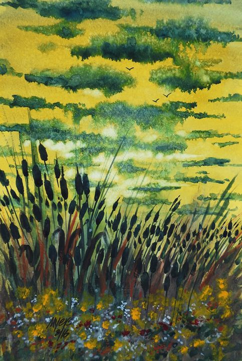 Cattails & Wildflowers, Watercolor - David K. Myers Watercolor/ Photo Gallery