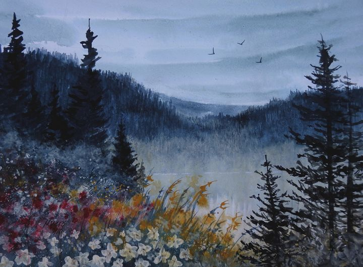 Alpine View, Watercolor Painting - David K. Myers Watercolor/ Photo Gallery