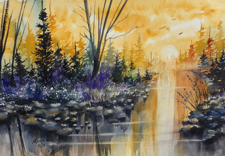 River Sun Watercolor - David K. Myers Watercolor/ Photo Gallery